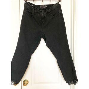 Torrid Jeans Ankle Skinny Raw Hem Lace 18 R